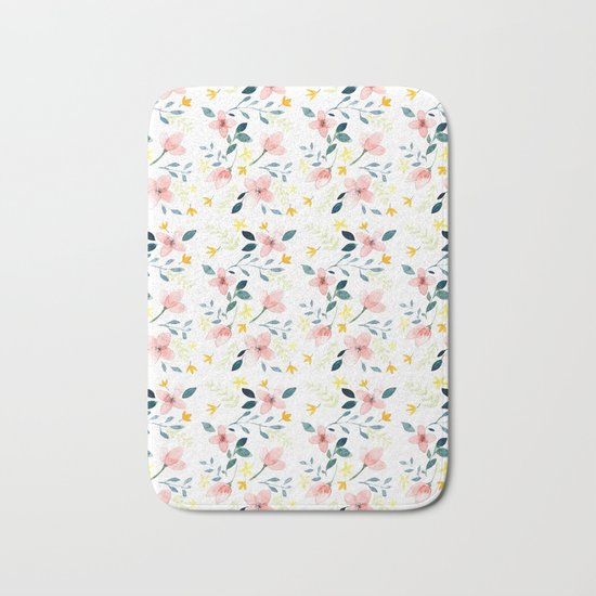 Watercolor Florals Bath Mat