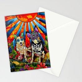 Australian Cattle Dog Sugar Skull Painting Stationery Cards