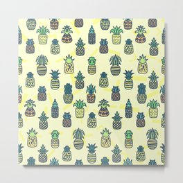 Pineapples Pattern Cute 777 Metal Print