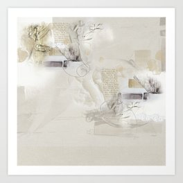 Abstract - Tranquility 3 - Soft Neutral Color Collage - Mixed Media Art Print