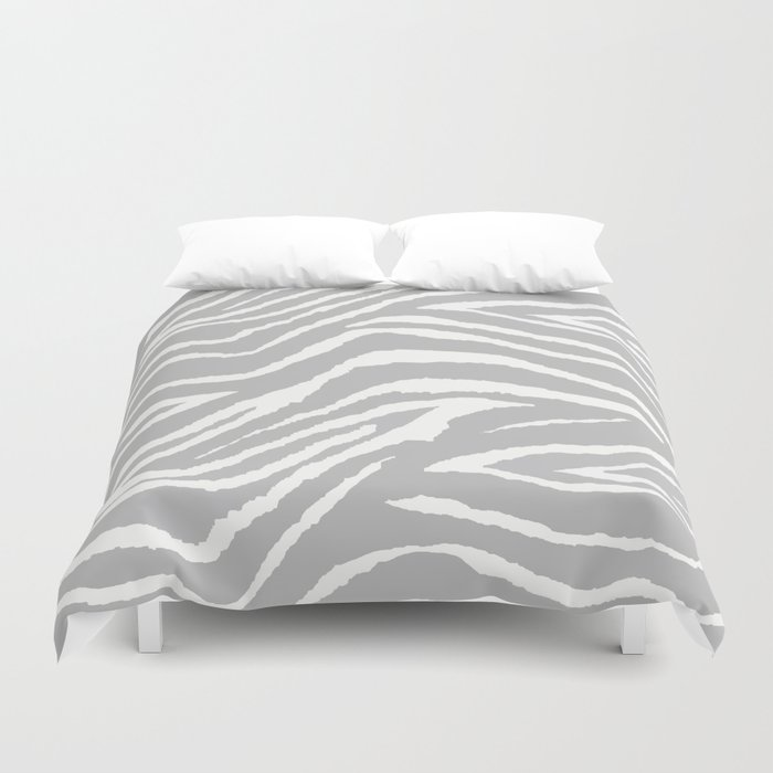 ZEBRA GRAY AND WHITE ANIMAL PRINT Duvet Cover