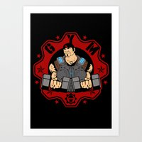 gym Art Prints featuring GoW Gym by Buby87