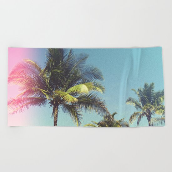 Tropical Palm Trees Beach Towel