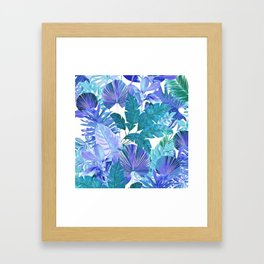 Tropical Leaf Blue Framed Art Print