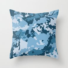 blue fir camo Throw Pillow