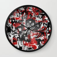 graffiti Wall Clocks featuring Graffiti  by Jonna Ivin