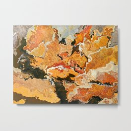 Abstract stone artistic planet earth textured colored environmental map shaped puzzle pieces  Metal Print