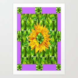 August  Peridots Gemstones & Yellow Sunflower  Lilac Abstract Art Print