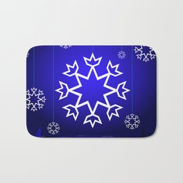 Xmas Blue with snowflake and tipi Bath Mat
