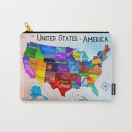Watercolor Mosaic Map of America Carry-All Pouch