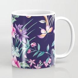 Chinoiserie french navy floral Coffee Mug