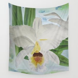 White orchid Cattleya Gaskelliana Wall Tapestry