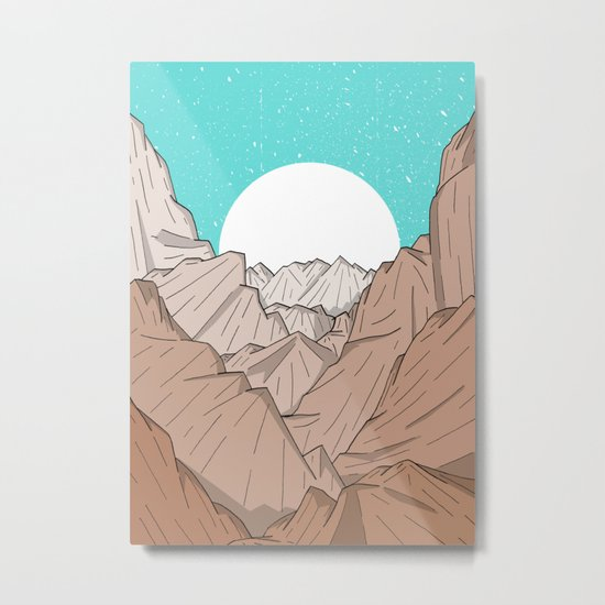 The Mountains of Old Metal Print
