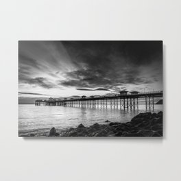 Monochrome Pier Metal Print