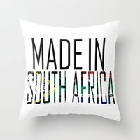 south africa Throw Pillows featuring Made In South Africa by VirgoSpice