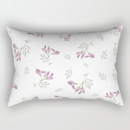 Purple watercolor flowers on a seamless white background Rectangular Pillow