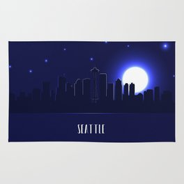 Seattle skyline silhouette at night Rug