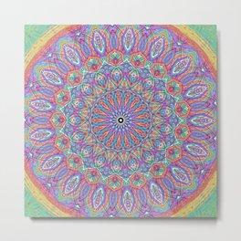 A little bit of Rainbow - Mandala Art Metal Print