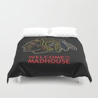blackhawks Duvet Covers featuring Madhouse Chicago Blackhawks by beejammerican