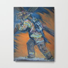 Fire Fighter Carrying his cross. Metal Print