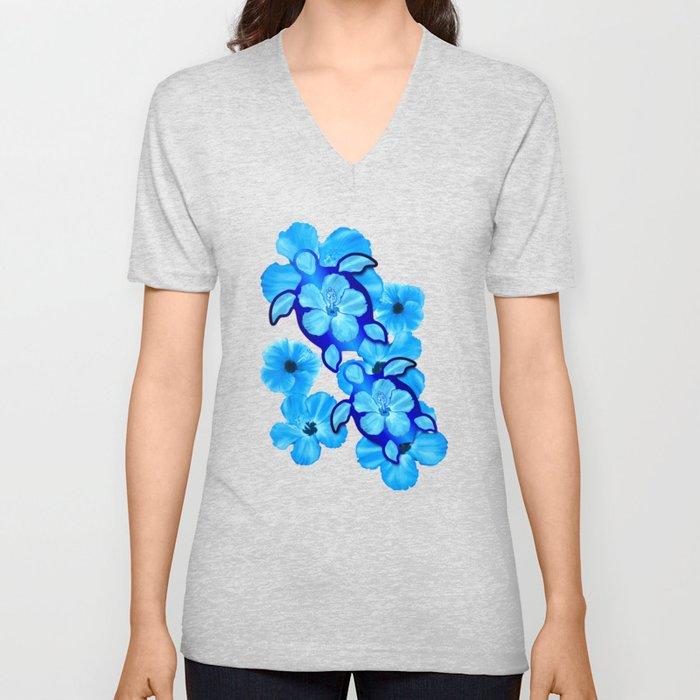 Tropical Hibiscus Flowers And Honu Turtles Unisex V-Ausschnitt