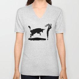 Pablo Picasso Bullfight III 1960 Artwork Shirt, Reproduction Unisex V-Neck