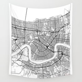 New Orleans Map White Wall Tapestry