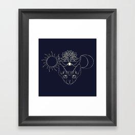 Moonight cat Framed Art Print