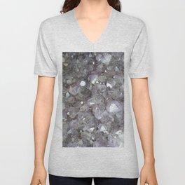 Sparkling Clear Light Purple Amethyst Crystal Stone Unisex V-Neck