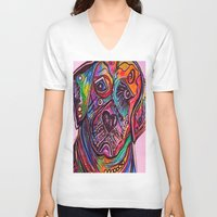 lab V-neck T-shirts featuring Lovable Lab by EloiseArt
