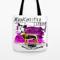 manchester Tote Bags featuring Manchester Terier by Genco Demirer