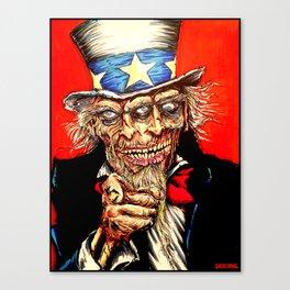 Uncle Zombie Sam Canvas Print