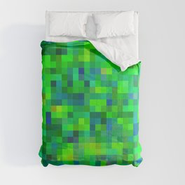 geometric square pixel pattern abstract in green and blue Comforters