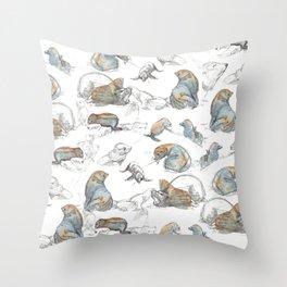 sketch of New zealand seals Throw Pillow