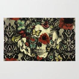 Vintage Gothic Lace Skull Rug