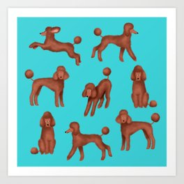 Chocolate Poodles Pattern  (Turquoise Background) Art Print