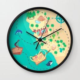 California Treasure Map Wall Clock