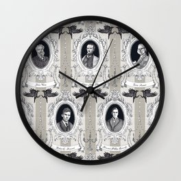 My favorite Authors Toile de Jouy Wall Clock