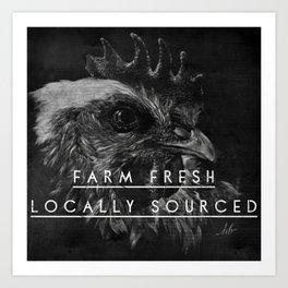 Farm Fresh black & white rooster Art Print