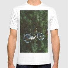 Bicycle Tree White MEDIUM Mens Fitted Tee