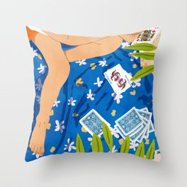 Playing Cards, Summer Games Vacation, Nature Bohemian Picnic Beach, Joker Illustration Throw Pillow