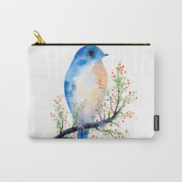 Watercolor bluebird on Berry Branch Carry-All Pouch