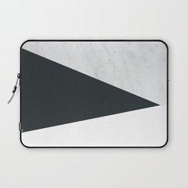Marble, dark navy ad white Laptop Sleeve
