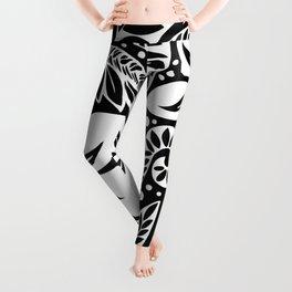 Circular Polynesian White Floral Tattoo Leggings