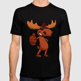Cute moose cartoon waving. T-shirt