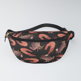 crab shrimps pattern black Fanny Pack
