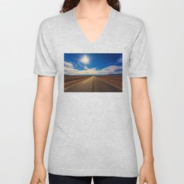 Desert Road on a Sunny Day Unisex V-Neck