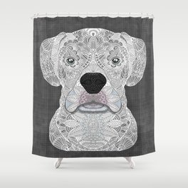 White Boxer Shower Curtain