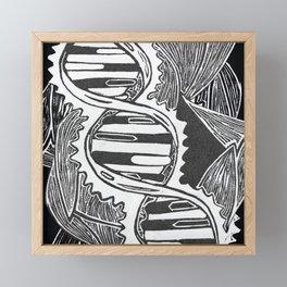 linocut dna strand Framed Mini Art Print