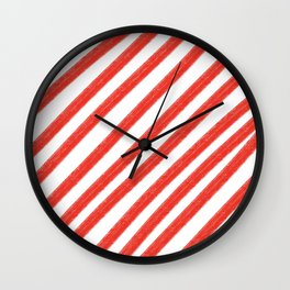 Red and White Painted Diagonal Stripes Pattern Wall Clock